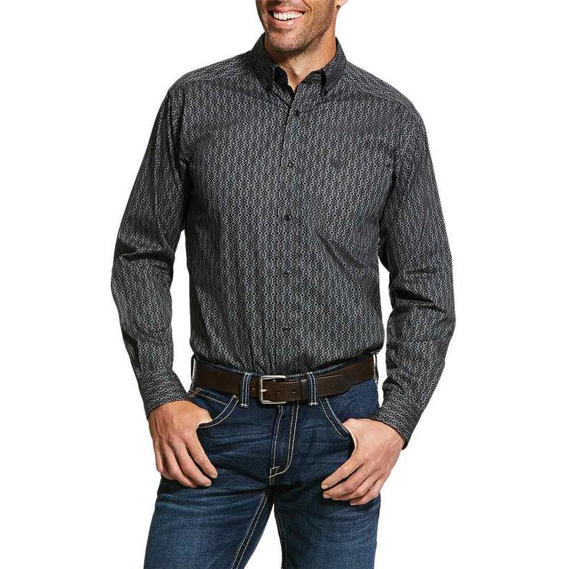 Ariat Hopkinton Fitted Grey Geo Print Long Sleeve Men's Shirt