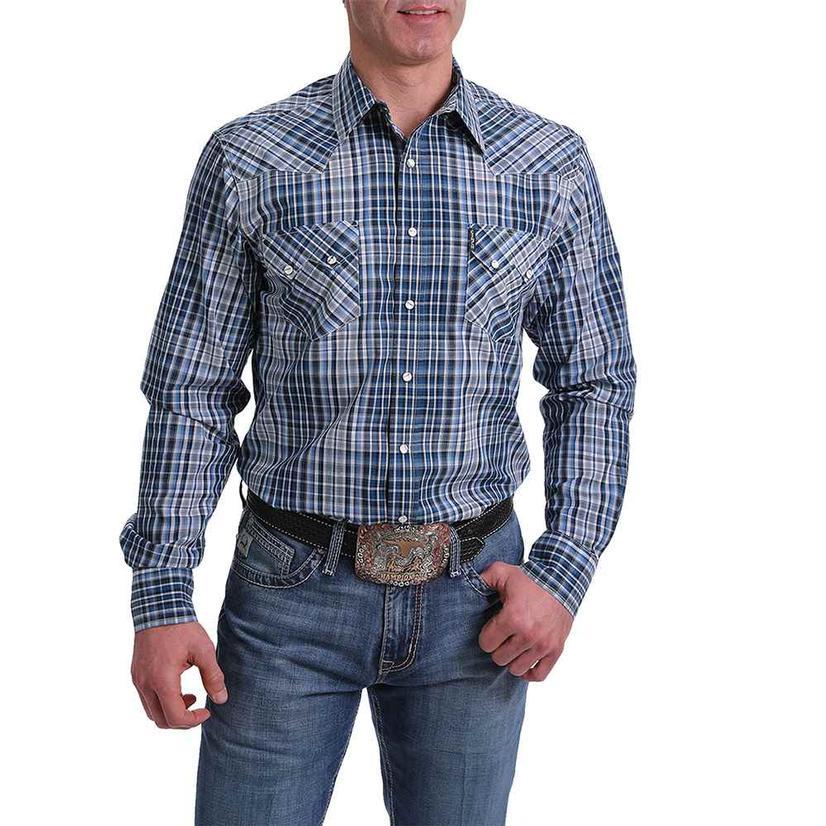 Cinch Modern Fit Blue Plaid Long Sleeve Shirt
