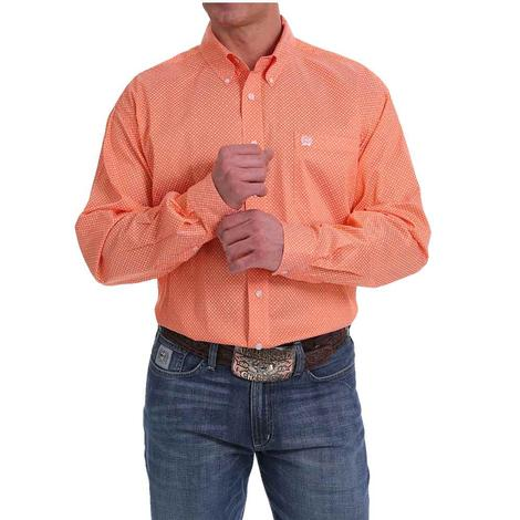Cinch Orange Print Long Sleeve Shirt