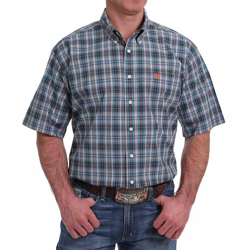 Cinch Blue/Orange Plaid Short Sleeve Shirt