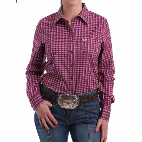 Cinch Pink Print Long Sleeve Women's Shirt