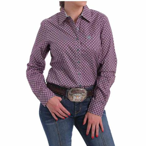Cinch Purple and Pink Print Long Sleeve Women's Shirt
