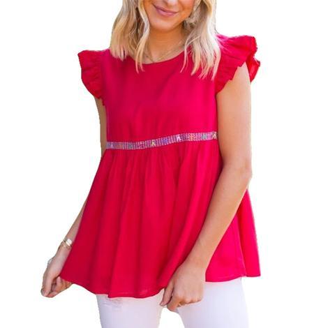 Mckenzie Red Embroidered Short Sleeve Women's Top