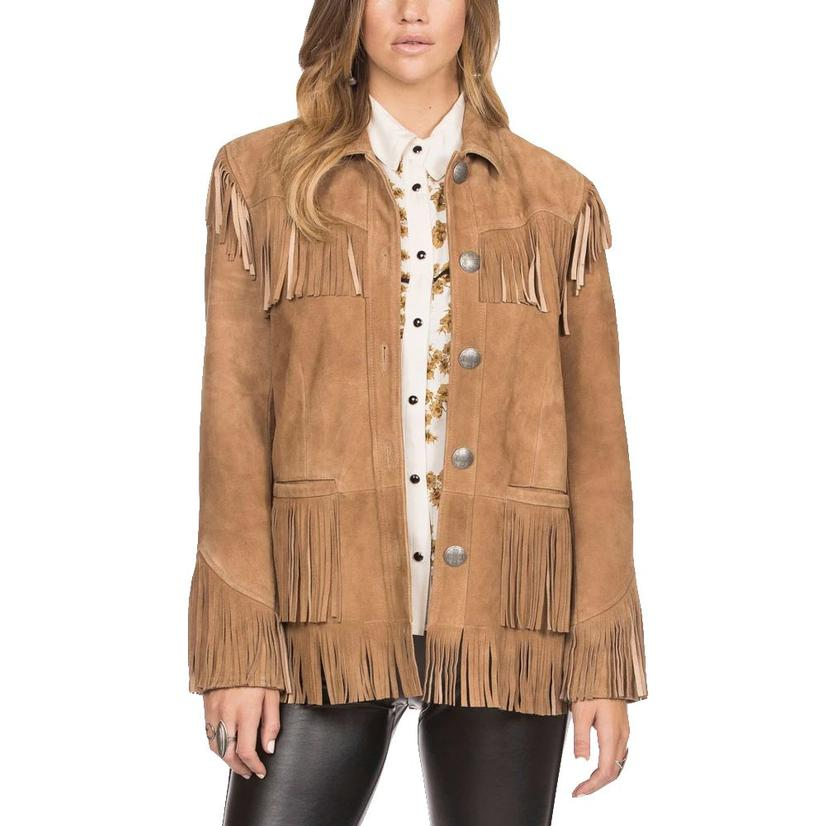 Double D Ranch Joe Buck Suede Fringed Long Sleeve Jacket