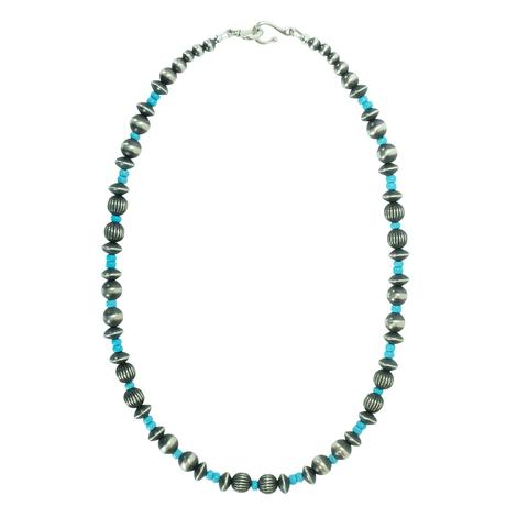 Navajo Pearl and Green Turquoise Necklace 18