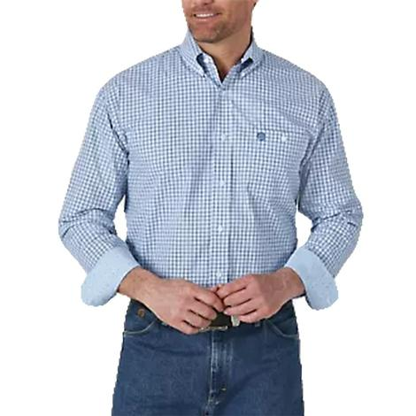 Wrangler George Strait Long Sleeve Blue Plaid Buttondown Men's Shirt