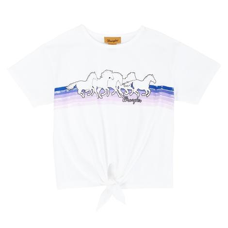Wrangler White Runnin Horses Tie Front Girl's Tee