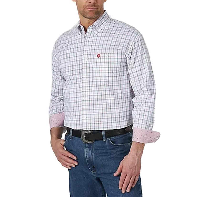 Wrangler George Strait Red White Plaid Long Sleeve Buttondown Men's Shirt