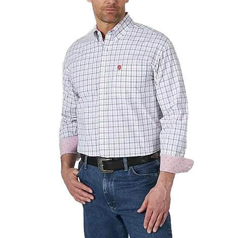 Wrangler George Strait Red White Plaid Long Sleeve Buttondown Men's Shirt
