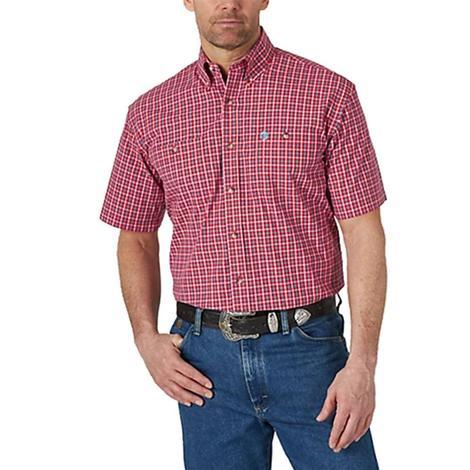 Wrangler George Strait Red Plaid Short Sleeve Buttondown Men's Shirt