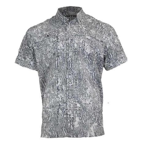 Xotic Artic Camo Short Sleeve Buttondown Men's Fishing Shirt