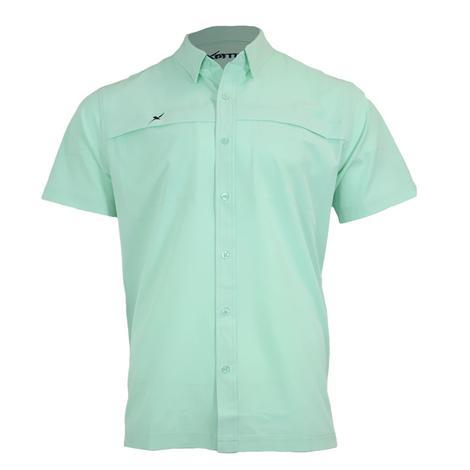 Xotic Ice Green Short Sleeve Buttondown Men's Fishing Shirt