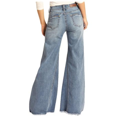 Rock and Roll Cowgirl Stretch High Rise Wide Flare Women's Jeans