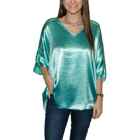 Adrienne Wrinkle Satin V Neck Round Bottom Over Sized Women's Blouse