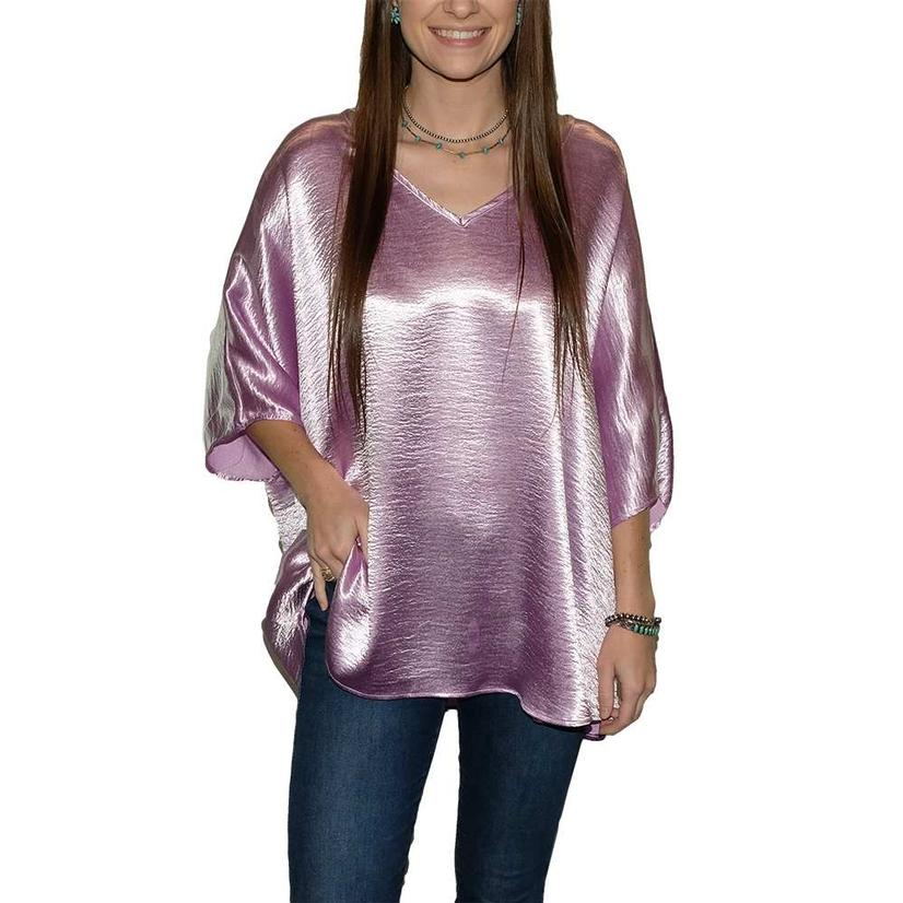 Adrienne Wrinkle Satin V Neck Round Bottom Over Sized Women's Blouse ORCHID
