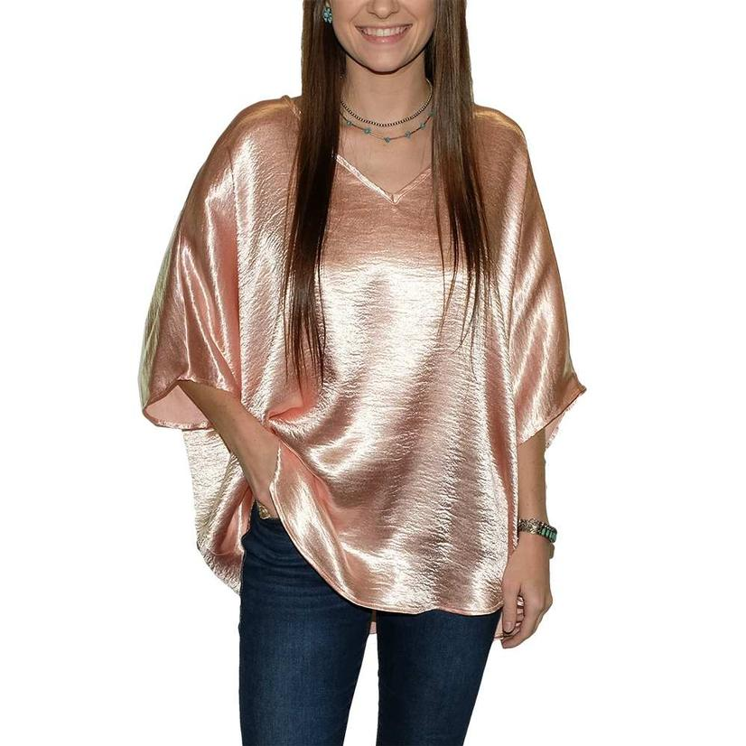 Adrienne Wrinkle Satin V Neck Round Bottom Over Sized Women's Blouse ROSE