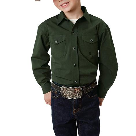 Roper Solid Green Long Sleeve Snap Boy's Shirt