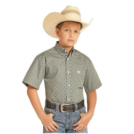 Panhandle Slim Green Short Sleeve Boy's Shirt