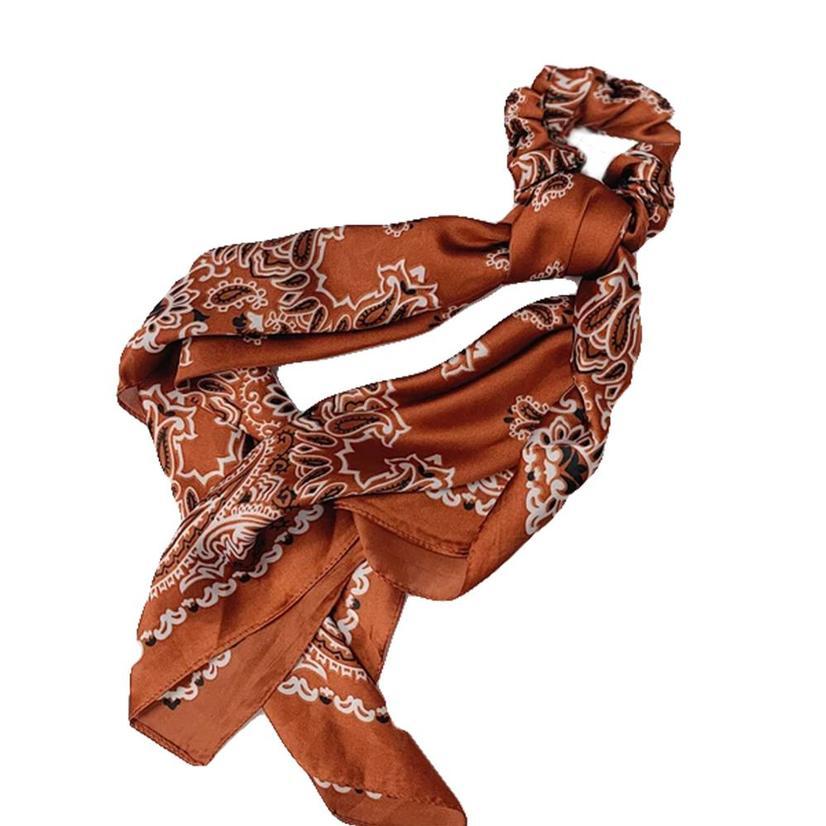 Hotline Hair Ties Rust Paisley Handkerchief Scarf