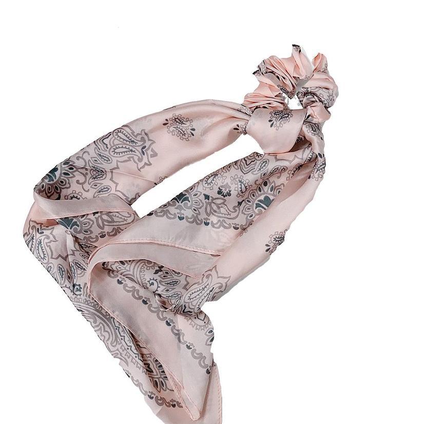 Hotline Hair Ties Pink Paisley Handkerchief Scarf