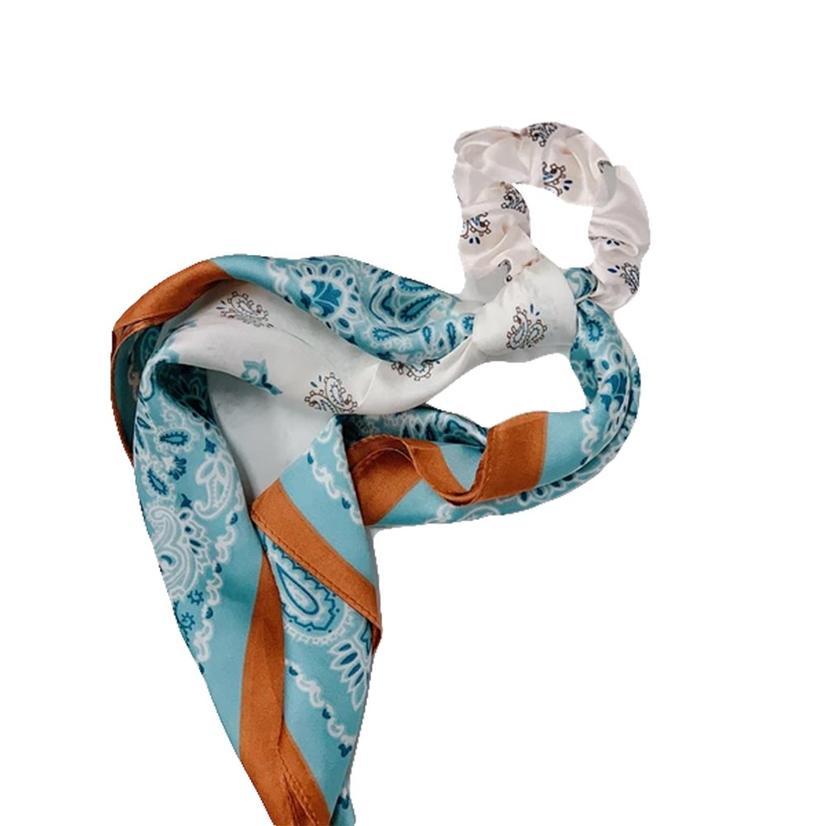 Hotline Hair Ties Mint And Rust Paisley Handkerchief Scarf