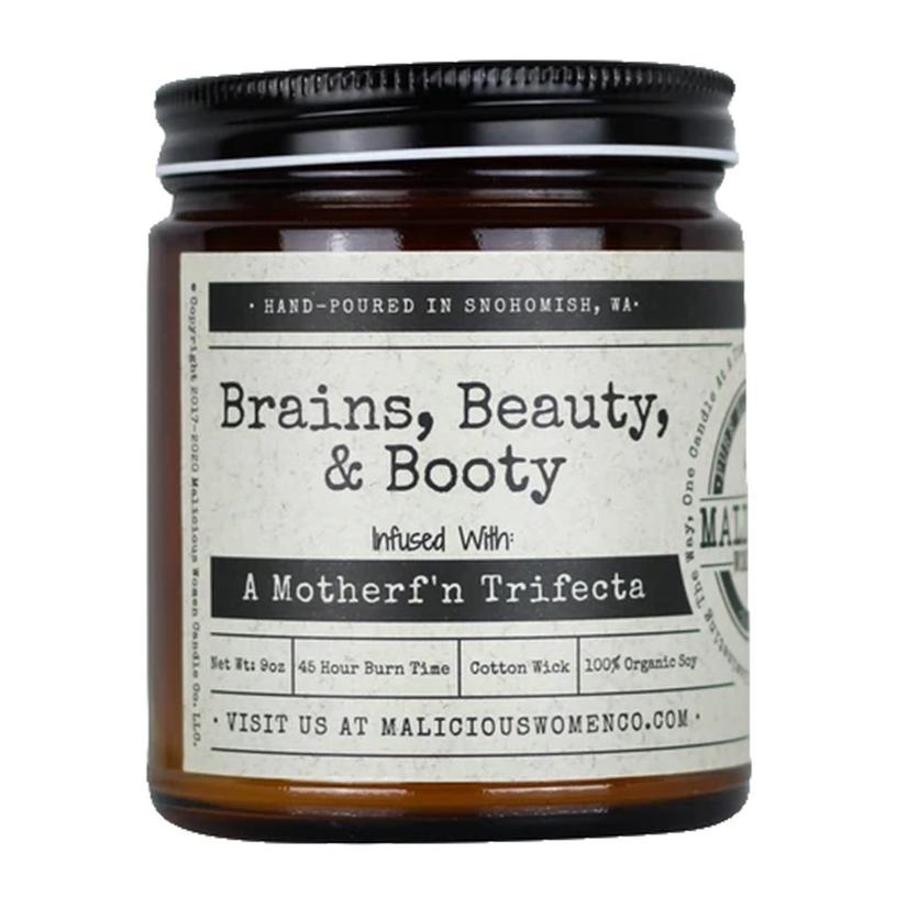 Malicious Women Candle Co.Brains Beauty And Booty 9oz Candle