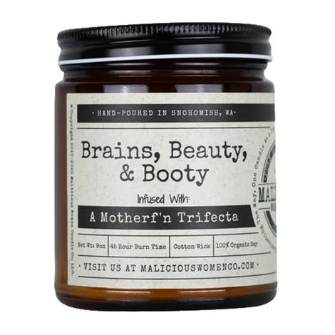 Malicious Women Candle Co. Brains Beauty and Booty 9oz Candle