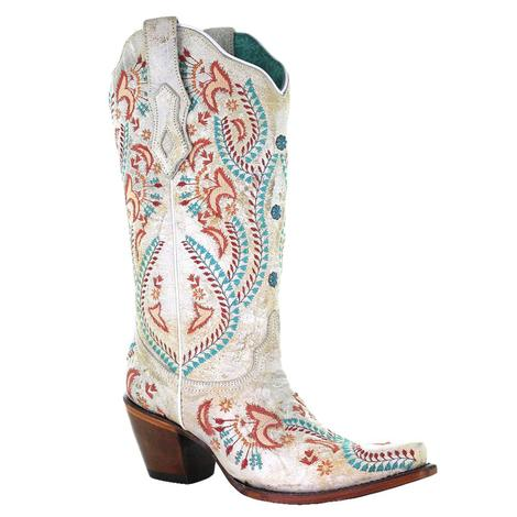 Corral Ladies White Turquoise and Red Embroidery with Studs