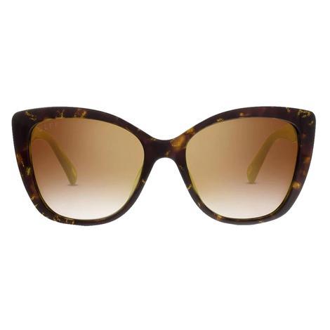 DIFF Eyewear Ruby Gold Tortoise Flash Brown Gradient Polarized Sunglasses