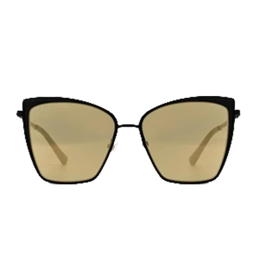 Diff Eyewear Becky Matte Black And Gold Mirror Sunglasses