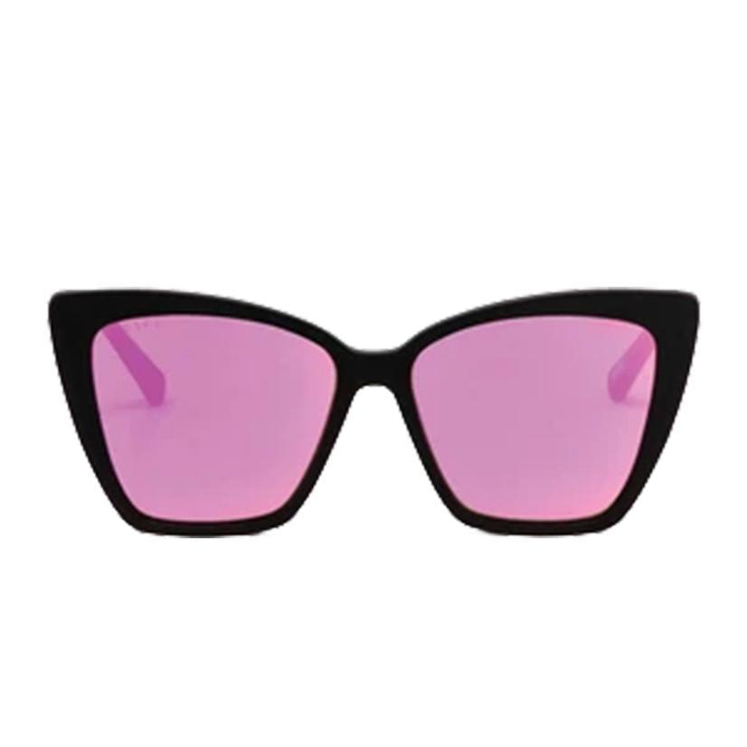 Diff Eyewear Becky Ii Matte Black And Pink Mirror Sunglasses
