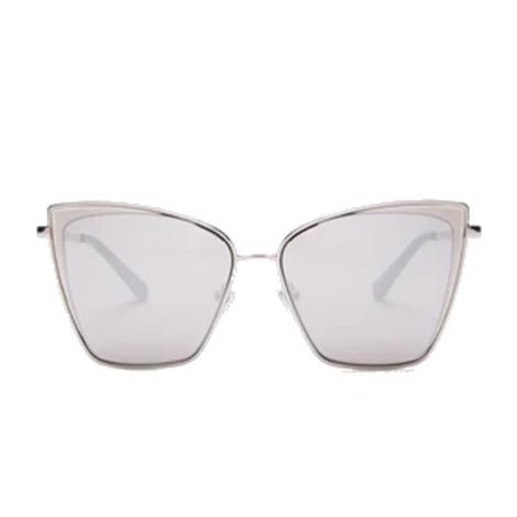 DIFF Eyewear Becky Silver Grey Mirror Lens Sunglasses