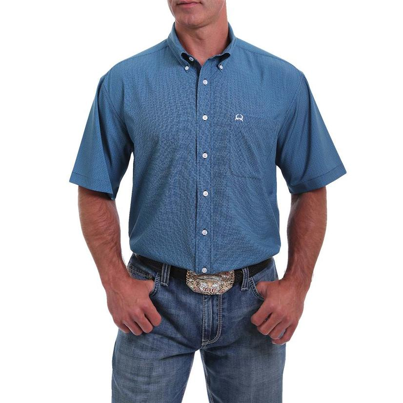 Cinch Blue Print Short Sleeve Buttondown Men's Shirt