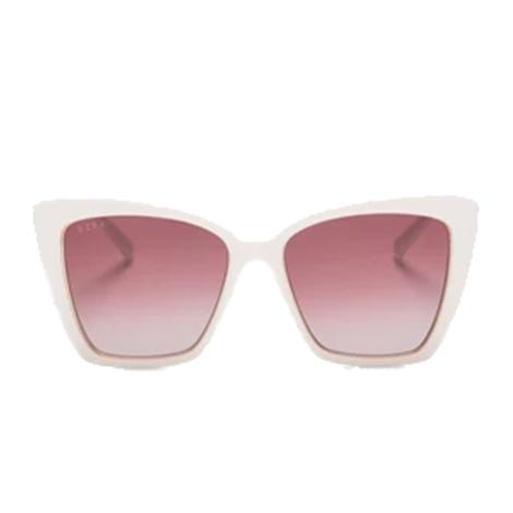 DIFF Eyewear Becky IV Ivory with Rose Gold Metal and Wine Gradient Sunglasses