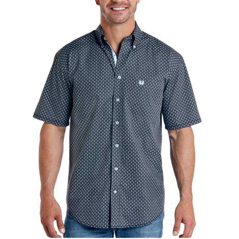 Panhandle Charcoal Grey Print Short Sleeve Buttondown Men's Shirt