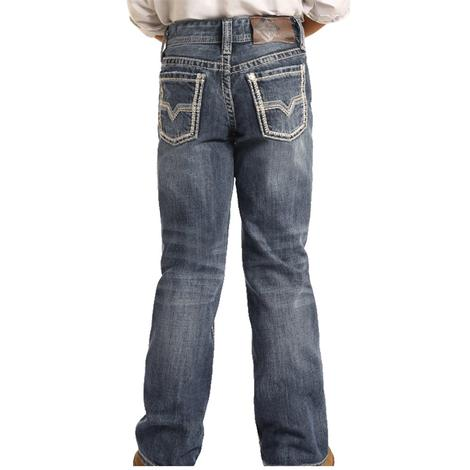Rock and Roll Cowboy Dark Vintage Boy's Bootcut Jeans