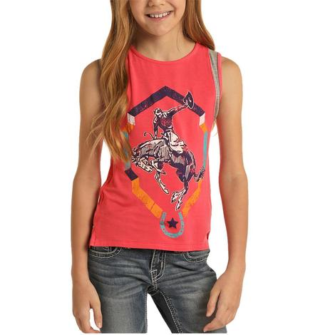 Rock and Roll Cowgirl Hot Pink Broc Rider Girl's Tank