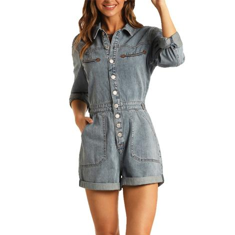 Rock and Roll Cowgirl Denim Button Romper