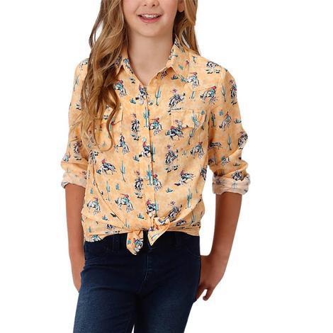 Roper Girl's Yellow Wild West Print Long Sleeve Shirt