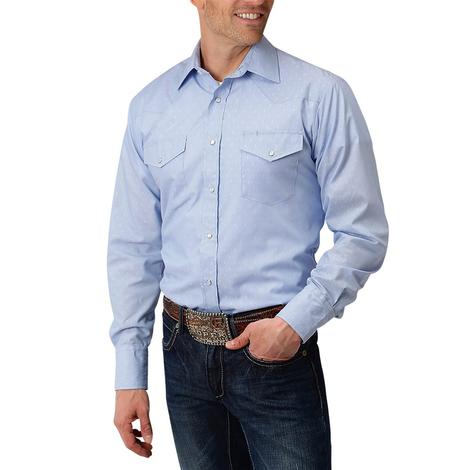 Roper Light Blue Small Print Long Sleeve Shirt