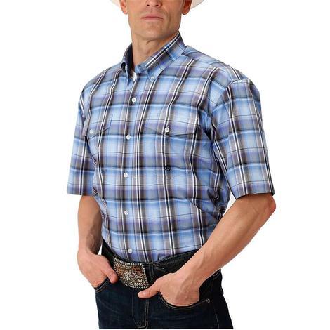Roper Blue/Black Plaid Short Sleeve Shirt