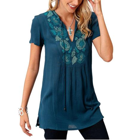 Roper Blue Embroidered Tunic Women's Top