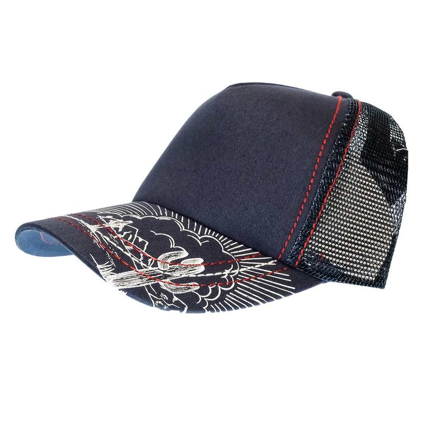 Cruel Girl Women's Trucker Navy Mesh Back Cap With Printed Bill
