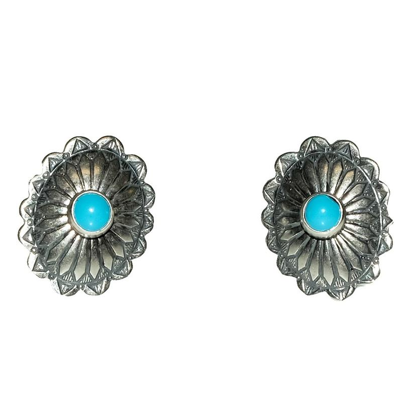 Small Turquoise And Silver Concho Stud Earrings