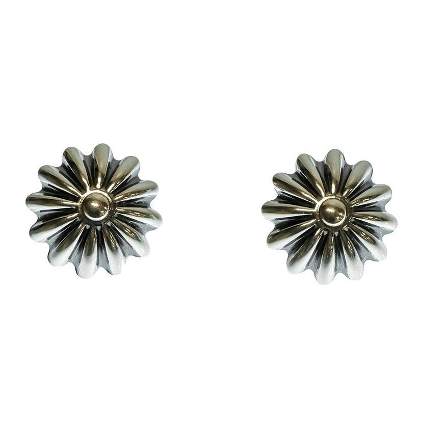 Womens Silver Concho Earrings