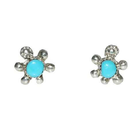 Turtle Silver and Turquoise Stud Earrings