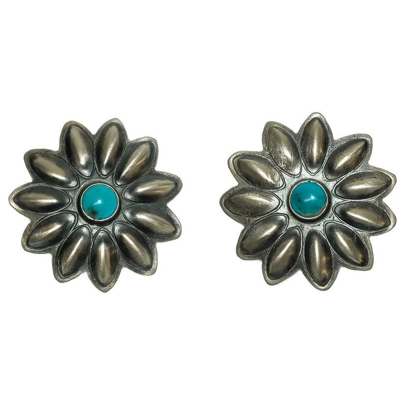 Womens Sterling Silver Flower Concho Earrings