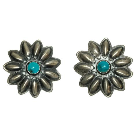 Womens Sterling Silver Flower Concho Earrings