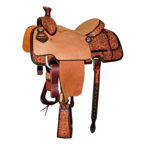 STT Premium Calf Roper Half Floral Dyed Tool Saddle