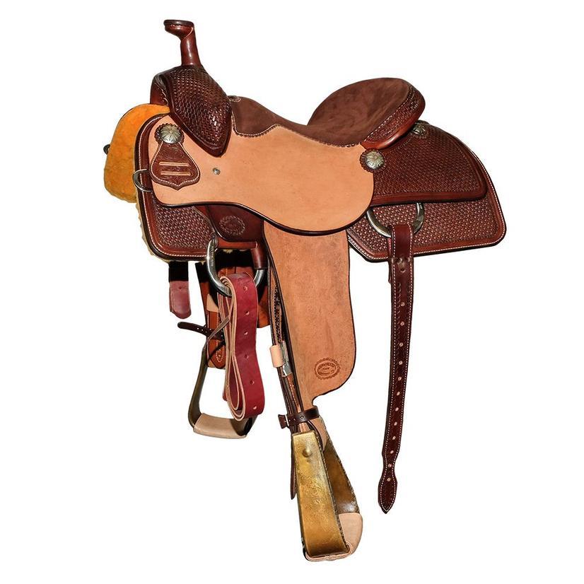 Stt Team Roping Half Chocolate Half Roughout Saddle